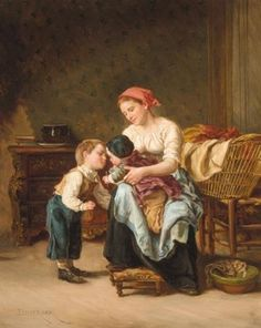 "Art - Mother & Child, ""Brotherly Love"" -- by Théophile Emmanuel Duverger (French, 1821–1886)"