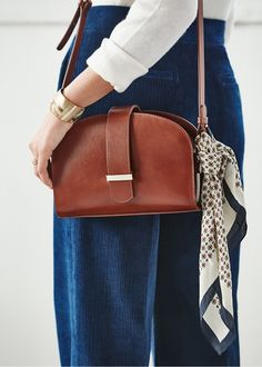 SHOP: Moon-shaped cross-body bag with a statement buckle and vintage sheen to the leather, love! By Sezane. My Bags, Purses And Bags, Spring Summer Fashion, Autumn Fashion, Fall Collection, Fashion Bags, Womens Fashion, Style Fashion, Outfits