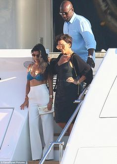 Hello sailors! Kourtney Kardashian and her mother Kris Jenner were joined by Corey Gamble on a yacht in Saint-Tropez on Tuesday
