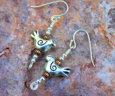 Bird Earrings Silver Birds Copper Beads Boho by CreativeCutes