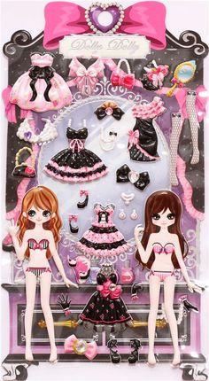 black kawaii girls dress up doll puffy sponge stickers 2
