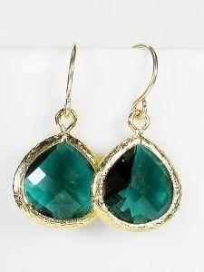 Simple Emerald Green Drop Earrings