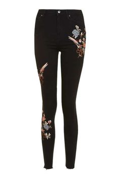 MOTO Floral Embroidered Raw Hem Jamie Jeans - Clothing- Topshop USA