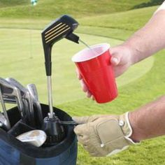 One of the best golf gifts you can give! Become the favorite of your foursome with this drink dispenser. This dispenser looks like a regular golf club.