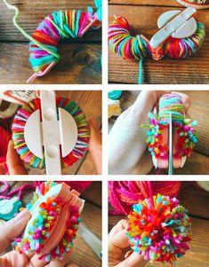 Pom Pom Wreath, Diy Wreath, Wreaths, Wreath Crafts, Pom Pom Crafts, Yarn Crafts, Pom Pom Diy, Easter Crafts For Kids, Crafts For Teens
