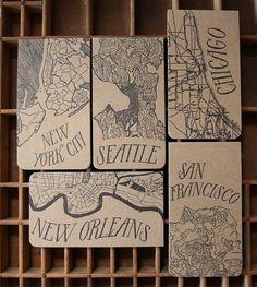 City Map Letterpress Notepads   Blackbird Letterpress