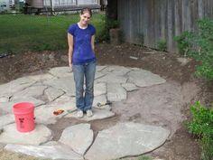 ideas for large backyard patio layout Cement Patio, Flagstone Patio, Brick Patios, Pergola Patio, Diy Patio, Backyard Patio, Pergola Ideas, Wisteria Pergola, Patio Decks