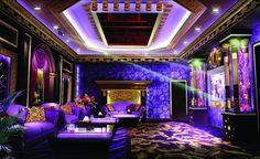 Purple KTV room interior design night rendering