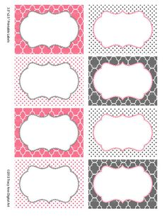 Pink and Grey Printable Labels or Buffet by TracyAnnPrintables