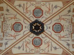Center detail of a barrel vault ceiling I painted in in Winter Park, Florida in 2012- Jeff Huckaby (the object in the center is the bottom of the iron light fixture that hangs from the center of the ceiling.)
