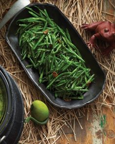 Slivered Scream Beans - Are your guests green with hunger? These sliced haricots verts were cut (by witches, of course) to look as scary and spiky as possible.