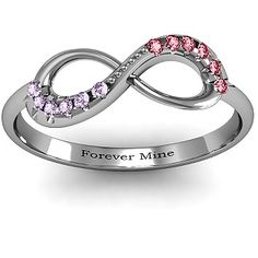 Infinity Accent Promise Ring with birthstones| Jewlr. I would like this as an engagement ring even. With diamonds instead of birthstone. And forever mine forever thine. Awww...