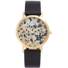 Women's Cluse La Roche Small Stone Leather Strap Watch, 33Mm ($179) ❤ liked on Polyvore featuring jewelry, watches, dial watches, stone jewelry, stone jewellery and leather-strap watches