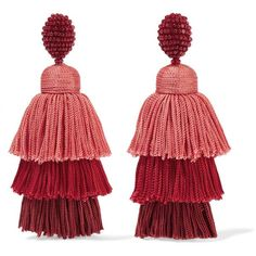 Oscar de la Renta Tiered beaded tassel clip earrings ($585) ❤ liked on Polyvore featuring jewelry, earrings, red coral jewelry, tassle earrings, red earrings, cluster earrings and red statement earrings