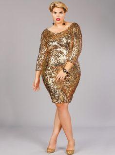 2ad5470ebb1 Josephine Sequins Party Dress Gold - Monif C Plus Size Curvy Holiday dress!