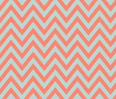 Mint Coral Chevron fabric on Spoonflower - custom fabric