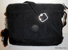 KIPLING AISLING Crossbody Bag Black Nylon Front Flap Adj Strap 12x8 HB6582 *EUC* #Kipling #MessengerCrossBody