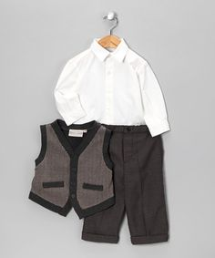 Take a look at this Charcoal & Taupe Tweed Sweater Vest Set - Infant, Toddler & Boys by Warm & Cozy: Apparel & Accents on #zulily today!
