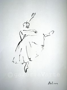Original ink drawing - Giselle Ballet - art painting - europeanstreetteam