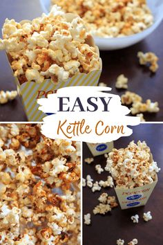 Sweet and salty kettle corn popcorn. A highly addictive, easy to make snack that takes 5 minutes on the stove top with only 4 ingredients! Vegan and gluten-free.
