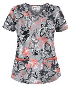 UA Splashy Butterflies Silver Print Scrub Top Style # UA638BFS  #uniformadvantage #uascrubs #adayinscrubs #scrubs #printscrubs #scrubtop #butterfly #butterflyscrubs