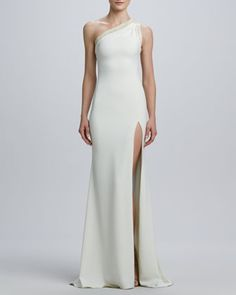One-Shoulder Laced-Back Jersey Gown by Badgley Mischka at Neiman Marcus- one day I will be able to rock this.