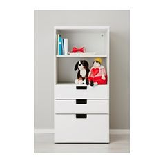 IKEA - STUVA, Storage combination with drawers, white/white, , A combination of open and closed storage lets you display the things you use often and keep the others free from dust.Low storage makes it easier for children to reach and organize their things.Stands evenly on an uneven floor; adjustable feet included.The drawer fronts have rounded corners and a cut-out handle with smooth edges.