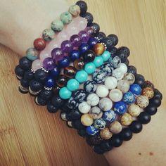Gemstone and Lava Rock Bead Essential Oil Diffuser Bracelets  www.etsy.com/shop/EssentiallyElegant