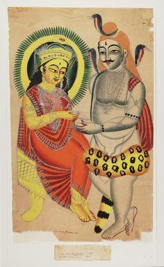 Kalighat paintings - Shiva begs food from Annapurna Indian Folk Art, Indian Artist, Durga Maa, Hanuman, Jamini Roy, Mythological Characters, Lord Shiva Family, Academic Art, India Art