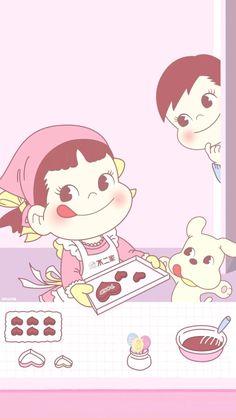 Peko bakery Disney Phone Wallpaper, Kawaii Wallpaper, Iphone Wallpaper, Locked Wallpaper, Kakao, Cute Cartoon, Cute Wallpapers, Chibi, Hello Kitty