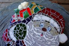 Mosaic Santa Shelf or Mantle decor or Wall Hanging by zzbob