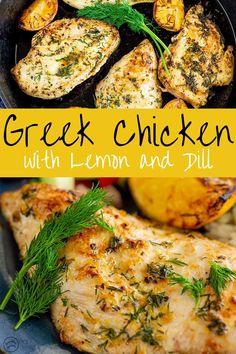 Dill Recipes, Herb Recipes, Greek Recipes, Chicken Recipes, Dinner Recipes, Cooking Recipes, Healthy Recipes, Lemon Dill Chicken Recipe, Chicken