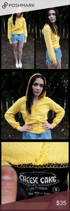 Fabulous vintage 70's yellow terry cloth hoodie! Such a cool vintage item! Bright yellow terry cloth hoodie, vintage Small. Fits like an Xsmall. Zips up front. Still in great condition. This is a unique and fun vintage item! Wear as a swim suit cover up, Too! Vintage Tops Sweatshirts & Hoodies