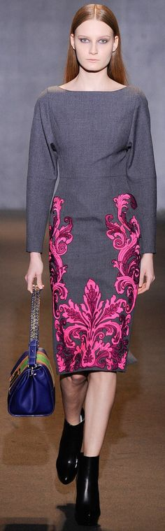 Just a reminder of how beautiful dark grey and pink are together./Andrew Gn Fall 2014 RTW