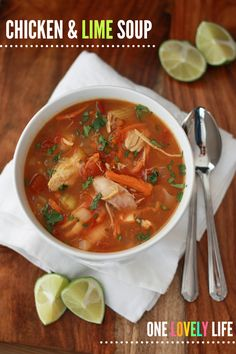 Chicken & lime soup (gf, df, paleo, - one lovely life - omit carrots Chicken Lime Soup, Paleo Chicken Soup, Paleo Soup, Chicken Soups, Paleo Recipes, Real Food Recipes, Dinner Recipes, Cooking Recipes, Sopas Light