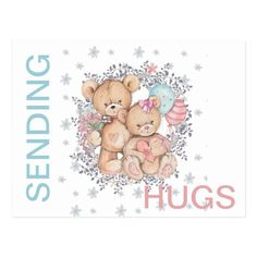 Shop Teddy Bear LOVE Get Well SENDING HUGS Postcard created by Creative_Watercolor. Teddy Bear Quotes, Teddy Bear Hug, Teddy Bear Images, Teddy Bears, Hugs And Kisses Quotes, Hug Quotes, Funny Quotes, Cute Love Gif, Love Hug