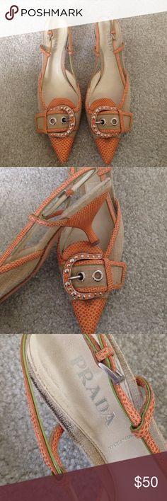 Vintage Prada shoes Tan and orange vintage Prada heels Prada Shoes Heels