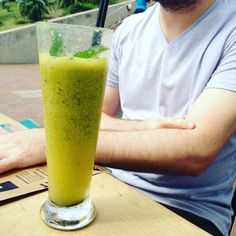 Sam's Crazy Detox (with granadilla {they ran out of orange juice}, Celery & Mint) @ Surf Riders Food Shack on South Beach, Durban. Click for the full restaurant review. Orange Juice, South Beach, Food Hacks, I Foods, Celery, Detox, Surfing, Mint, Restaurant