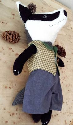 Badger Rag Doll Woodland Animal Badger in Clothes Stuffed