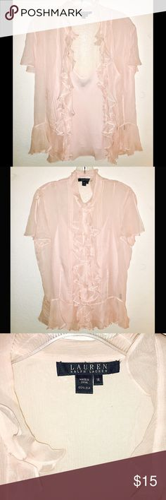 "Baby Pink Chiffon Ruffled Blouse New without tags 💖 so pretty. Has under shirt and buttons up. 26"" length Lauren Ralph Lauren Tops Blouses"