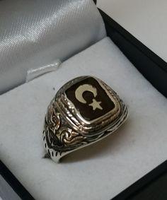 Vintage Ringe - Ring Silber türkische Flagge Halbmond/Stern SR691 - ein Designerstück von Atelier-Regina bei DaWanda
