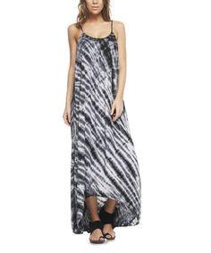 Another great find on #zulily! Black & White Stripe Tie-Dye Maxi Dress by Mono B #zulilyfinds