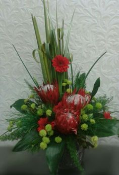 Altar Flowers, Church Flowers, Funeral Flowers, Creative Flower Arrangements, Contemporary Flower Arrangements, Fresh Flowers, Silk Flowers, Protea Bouquet, Modern Floral Design