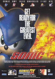 Advert for Sonic Adventure DX: Director's Cut on Nintendo Gamecube Sonic Adventure, Sonic And Amy, Advertising Poster, Pixel Art, Videogames, Sonic The Hedgehog, Nintendo, Retro, Gadgets