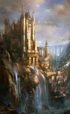 "fantasy-art-engine: ""Castle and Waterfalls by Andrey Vasilchenko "" Fantasy Magic, My Fantasy World, Fantasy City, Fantasy Castle, Fantasy Kunst, Fantasy Places, High Fantasy, Medieval Fantasy, Medieval Town"