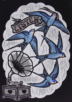 Chris Bourke's traditionally crafted, hand-coloured lino-cuts. ~ for Cathy x