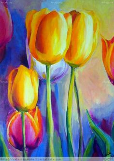 Tulipanes - acrylic painting by Valeria Campbell Tulip Painting, Painting & Drawing, Summer Painting, Watercolor Flowers, Watercolor Paintings, Paint Flowers, Acrylic Flowers, Acrylic Painting For Beginners, Beginner Painting