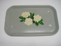 Green Vintage Metal Tray with Gardenia flowers. Up for bid now.