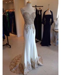 white prom dress,mermaid Prom Dress,Long evening dress,charming evening gown,formal prom gown,BD922