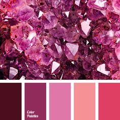 Bright, flamboyant and inflammatory palette. Colors that embody hot passion, boiling energy, wild temper. They dictate their own rules of game. Colour Pallette, Colour Schemes, Color Patterns, Color Combos, Purple Color Palettes, Pink Palette, Pantone, Shades Of Burgundy, Paint Colors